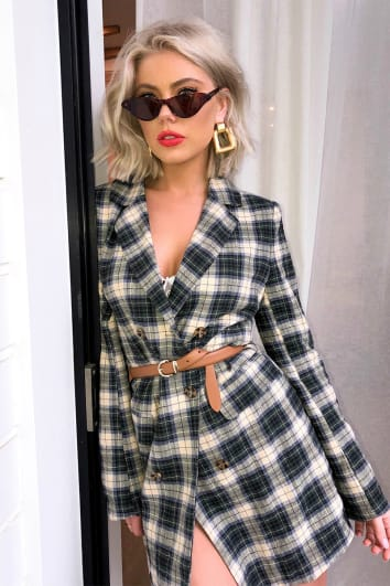 LAURA JADE GREEN CHECKED DOUBLE BREASTED BLAZER