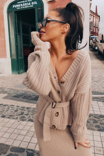 LORNA LUXE 'NO REGRETS' RIBBED BELTED STONE CARDIGAN