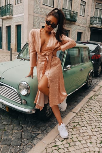 LORNA LUXE 'LISTEN UP LISBON' POLKA DOT NUDE WRAP MIDI DRESS
