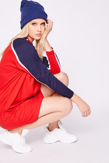 TRISSA RED SPORTS STRIPE OVERSIZED T SHIRT DRESS