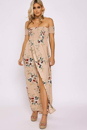 ALEXISS NUDE FLORAL SHIRRING BARDOT MAXI SPLIT DRESS