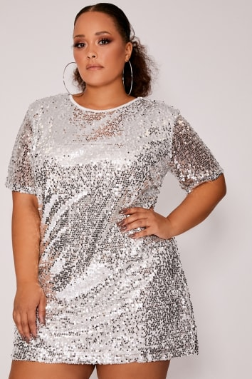 CURVE MADELINE SILVER SEQUIN T SHIRT DRESS