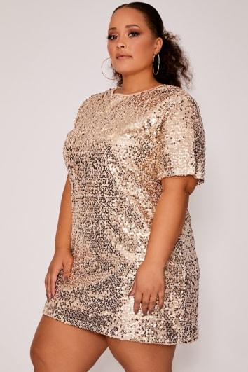 CURVE MADELINE GOLD SEQUIN T SHIRT DRESS