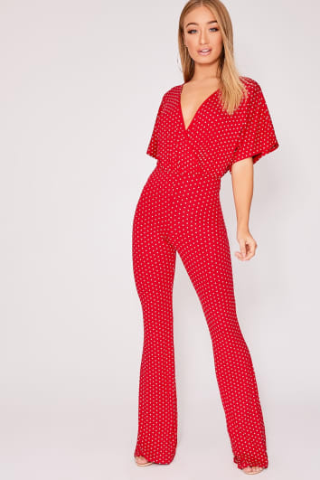 FRITZY RED POLKA DOT WRAP OVER JUMPSUIT