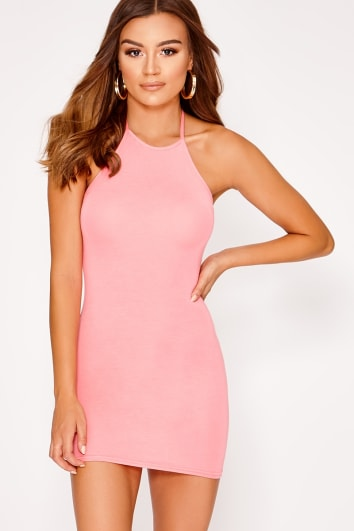 BASIC PINK JERSEY HALTERNECK BODYCON DRESS