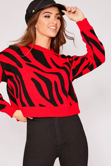 LUCI RED ZEBRA PRINT CROPPED JUMPER