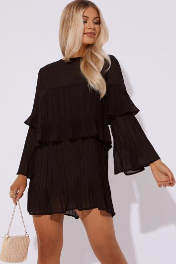CRYSTEL BLACK PLEATED MINI DRESS