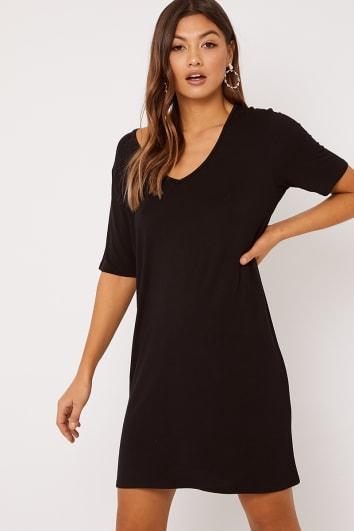 c4e72a12e92 CYNTHIA BLACK V NECK T SHIRT DRESS