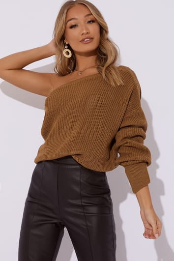 NALANI CAMEL ONE SHOULDER KNITTED JUMPER