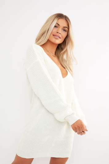 e386a62247 SYLVIJA IVORY V PLUNGE FRONT JUMPER DRESS