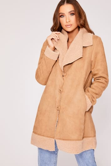 DENISE CAMEL FAUX SUEDE BORG LINED JACKET