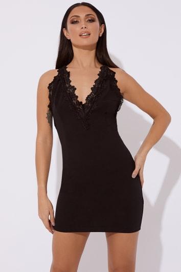 SAFFRON BLACK LACE DETAIL MINI DRESS