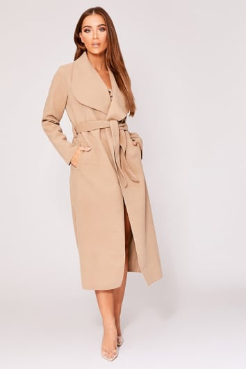 NIRVI CAMEL BELTED WATERFALL JACKET