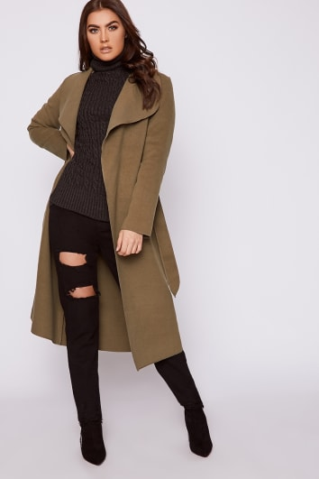 NIRVI KHAKI BELTED WATERFALL COAT