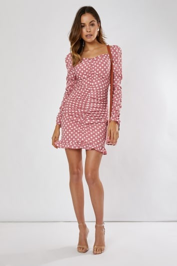 739b4aede5b SADELLAH PINK AND WHITE POLKA DOT PUFF SLEEVE RUCHED FRILL HEM MINI DRESS