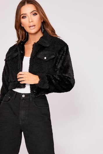 IRIS BLACK TEDDY FUR CROPPED TRUCKER JACKET