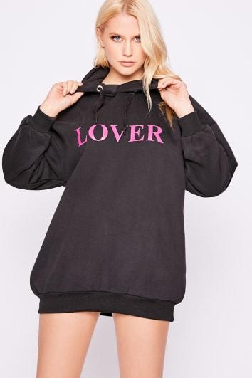 LOVER OVERSIZED BLACK HOODED SWEATER DRESS