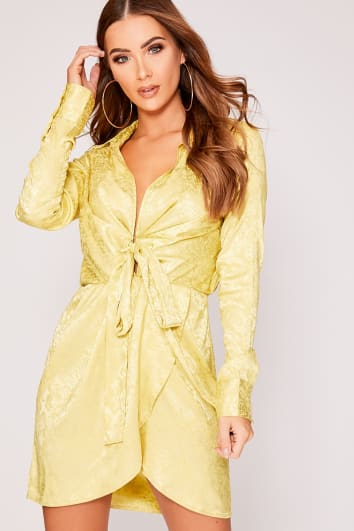 GREYSON LIME FLORAL SILKY TIE FRONT SHIRT DRESS