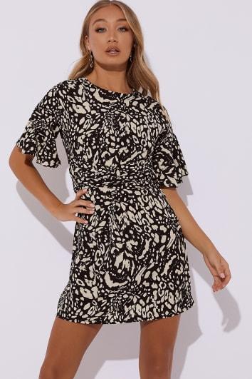 KAILANI BLACK LEOPARD PRINT MINI DRESS