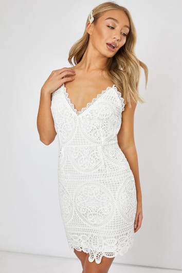 DONATTA WHITE CROCHET LACE CAMI DRESS
