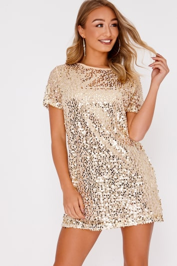 56941cc350 MADELINE GOLD SEQUIN T SHIRT DRESS