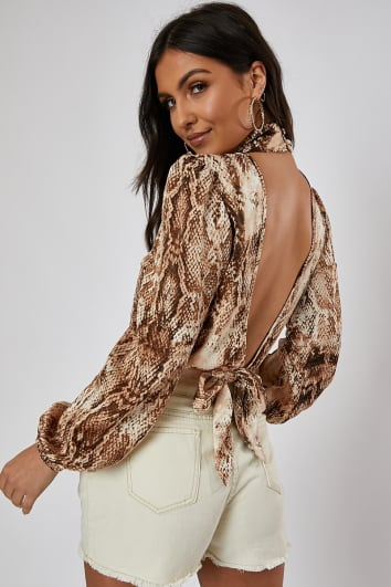 NARA BROWN SNAKE TIE DETAIL BODYSUIT