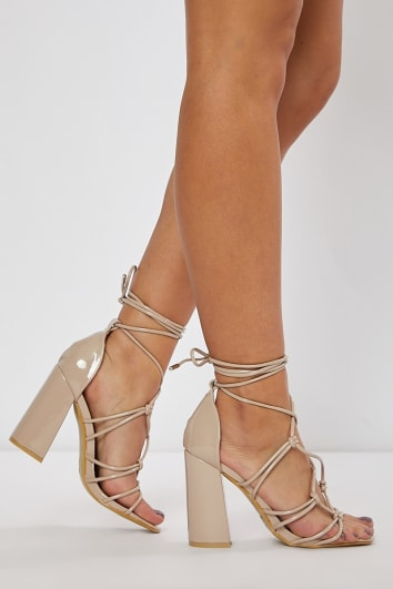 NATIVIA NUDE SUEDE LACE UP BLOCK HEELS