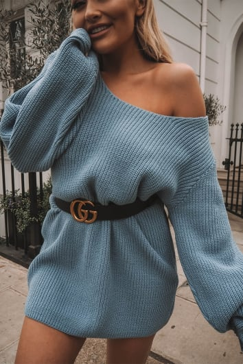 SARAH ASHCROFT BLUE OVERSIZED MULTIWAY JUMPER DRESS
