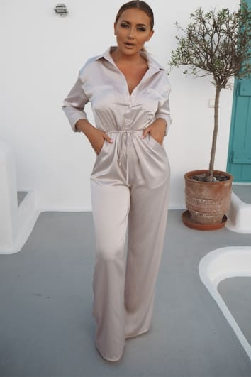 SARAH ASHCROFT GREY SATIN WIDE LEG JUMPSUIT