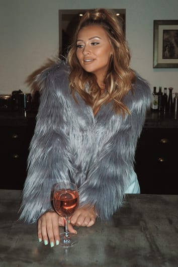 SARAH ASHCROFT GREY OVERSIZED COLLAR FAUX FUR JACKET
