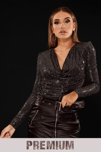 PREMIUM BLACK SPARKLY COWL NECK TOP