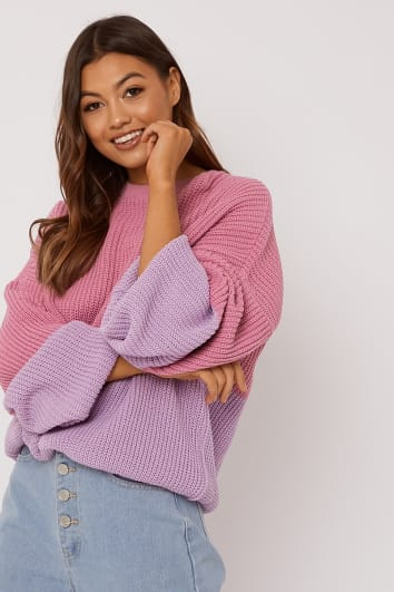 SARAH ASHCROFT PINK COLOUR BLOCK OVERSIZED KNITTED JUMPER