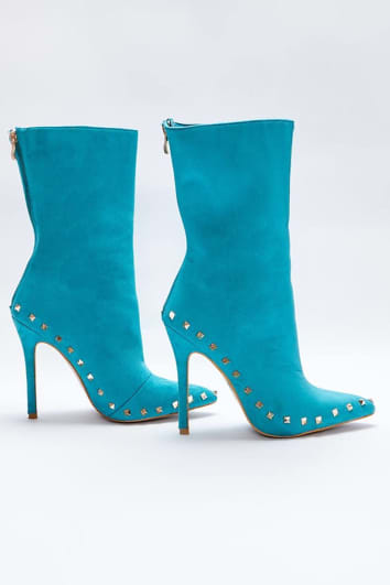 SARAH ASHCROFT AQUA FAUX SUEDE STUDDED SOLE ANKLE BOOTS