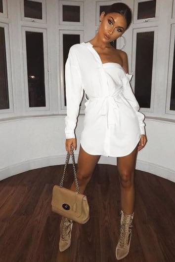 20c7aad03cd SARAH ASHCROFT WHITE ASYMMETRIC SHIRT DRESS