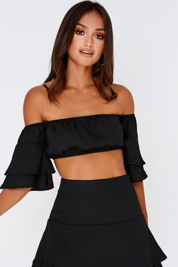 SARAH ASHCROFT BLACK BARDOT FRILL SLEEVE CROP TOP