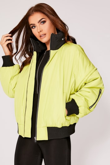 SARAH ASHCROFT LIME OVERSIZED BOMBER JACKET