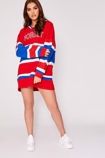 SARAH ASHCROFT RED FORGET THE RULES OVERSIZED COLOUR BLOCK SWEATSHIRT