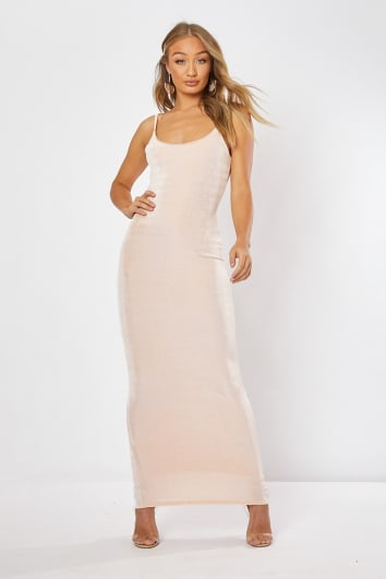 FRANZISKA BLUSH ACETATE SLINKY STRAPPY MAXI DRESS