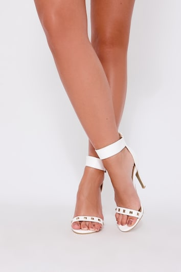 ZABI WHITE FAUX LEATHER STUDDED BARELY THERE HEELS