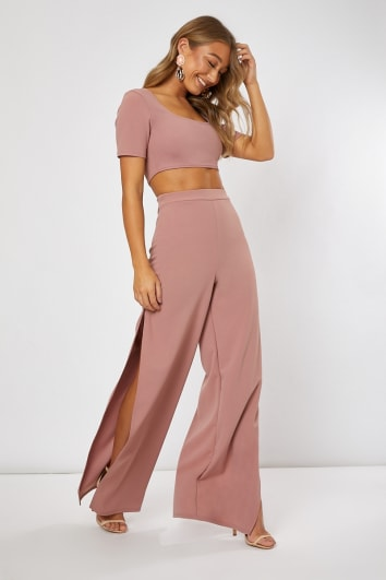 LASTIN BLUSH SIDE SPLIT WIDE LEG TROUSERS