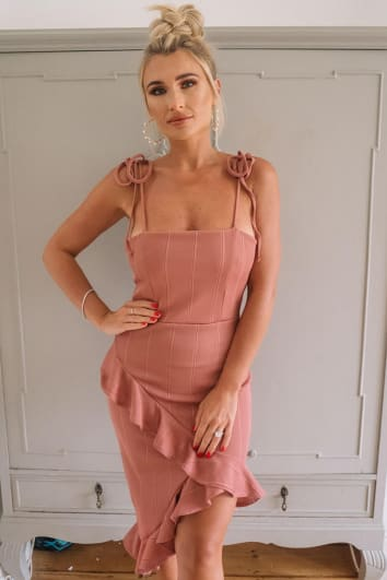 BILLIE FAIERS PINK BANDAGE ASYMMETRIC FRILL MIDI DRESS