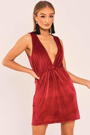 ESMI RED VELVET PLUNGE MINI DRESS
