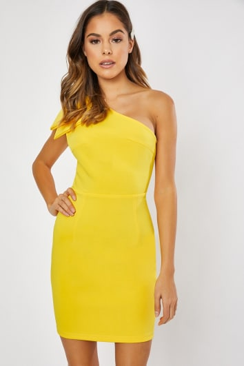 YANIRAH YELLOW ONE SHOULDER BOW DETAIL BODYCON DRESS