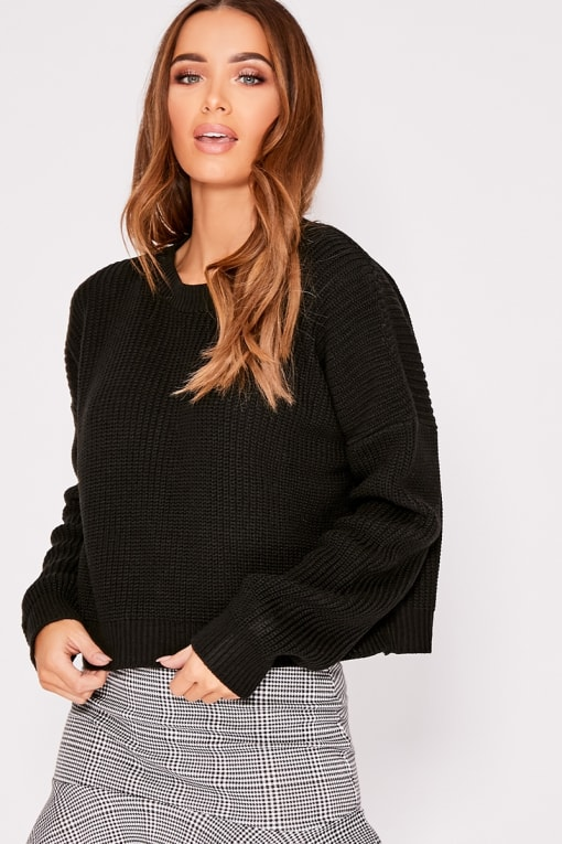 KIRRA BLACK CREW NECK BASIC CROPPED JUMPER