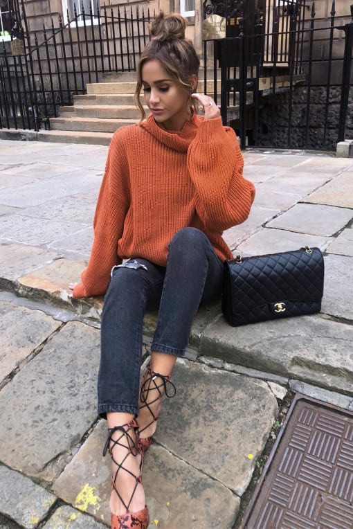 EMILY SHAK RUST COWL NECK OVERSIZED JUMPER