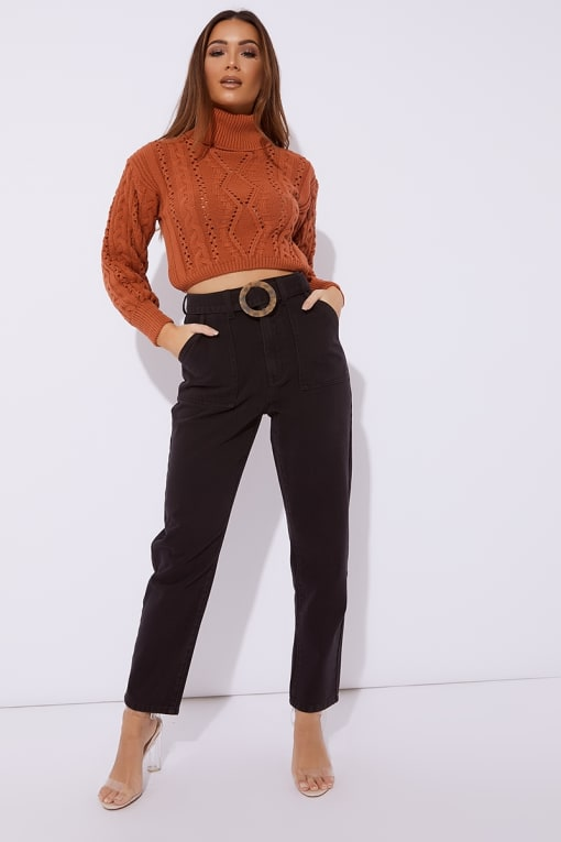 MAVRIC BLACK DENIM HORN BUCKLE DETAIL MOM JEANS