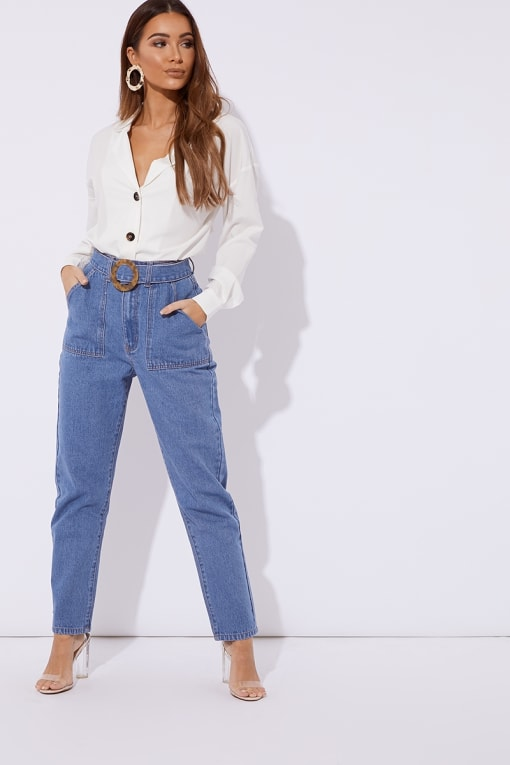 MAVRIC BLUE DENIM HORN BUCKLE DETAIL MOM JEANS