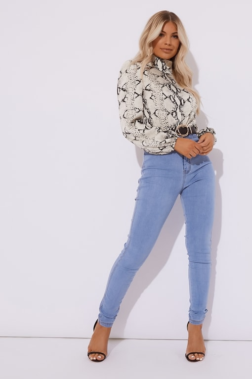 SASS LIGHT BLUE SUPER HIGH WAISTED TUBE JEANS