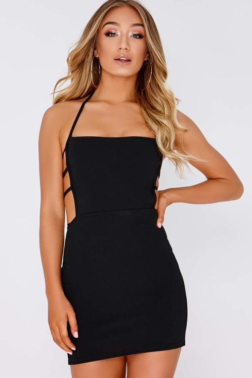 EDALINE BLACK STRAP DETAIL MINI DRESS