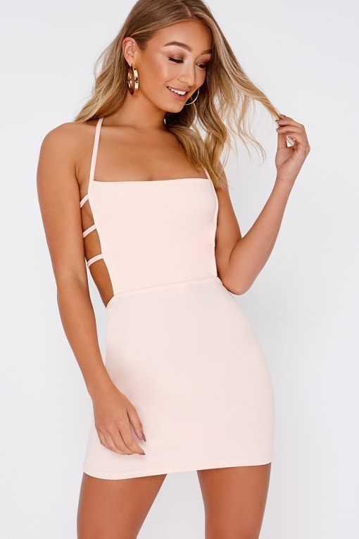 EDALINE NUDE STRAP DETAIL BACKLESS BODYCON DRESS